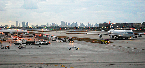 MIA cargo area ith city in the background