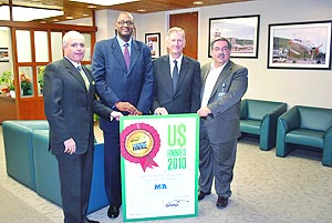 Miami-Dade Aviation Department Director José Abreu, Deputy Directors Miguel Southwell and Ken Pyatt, and Marketing Division Director Chris Mangos with MIA's 2010 ANNIE Prize for Airport With The Most New International Routes.